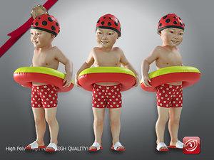 child male swimming pool 3D