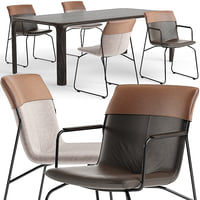 3D ditte chairs aurelio table set