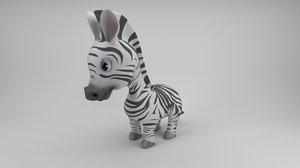 rigged cartoon zebra 3D