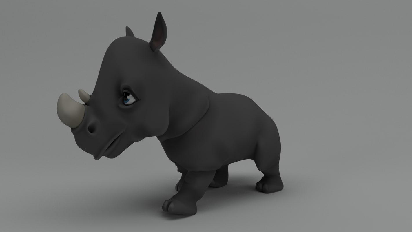 rigged cartoon rhino 3D model