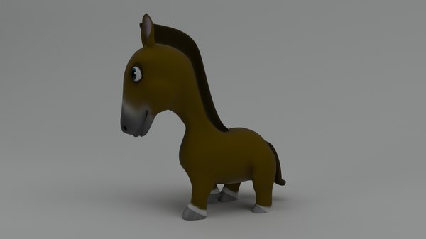 rigged cartoon horse 3D model