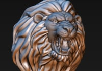 Lion head (3D print ready)