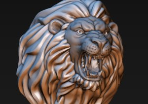 lion head print ready 3D model