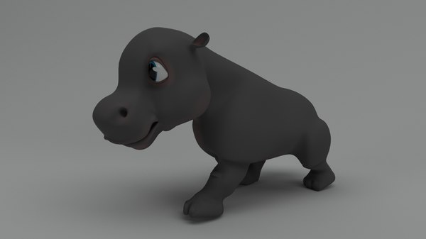 3D rigged cartoon hippo