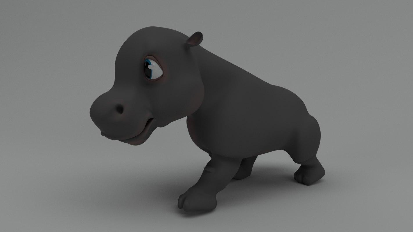 3D rigged cartoon hippo