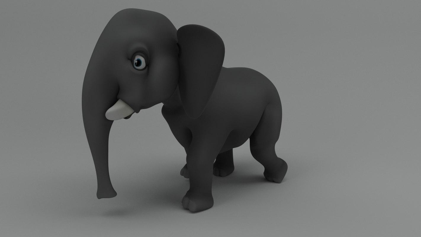 3D rigged cartoon elephant