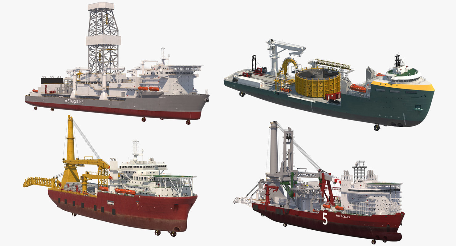 vessels lay offshore 3D