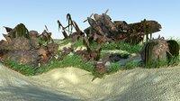 sunken plane mines 3D