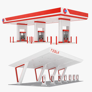 gas station 01 3D