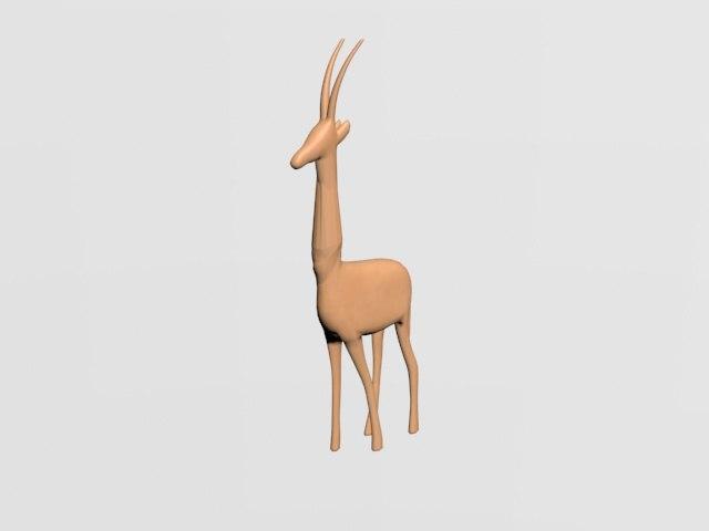 3D deer wooden model
