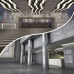 3D hall lobby model