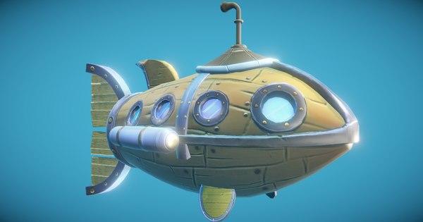 steampunk submarine fish 3D model