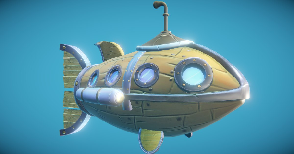 steampunk submarine fish 3D model