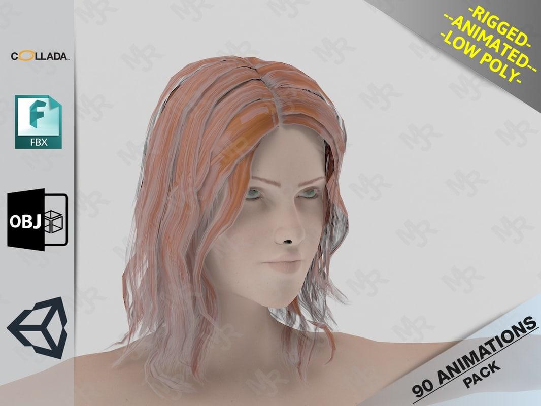 3D model naked girl1 animations pack