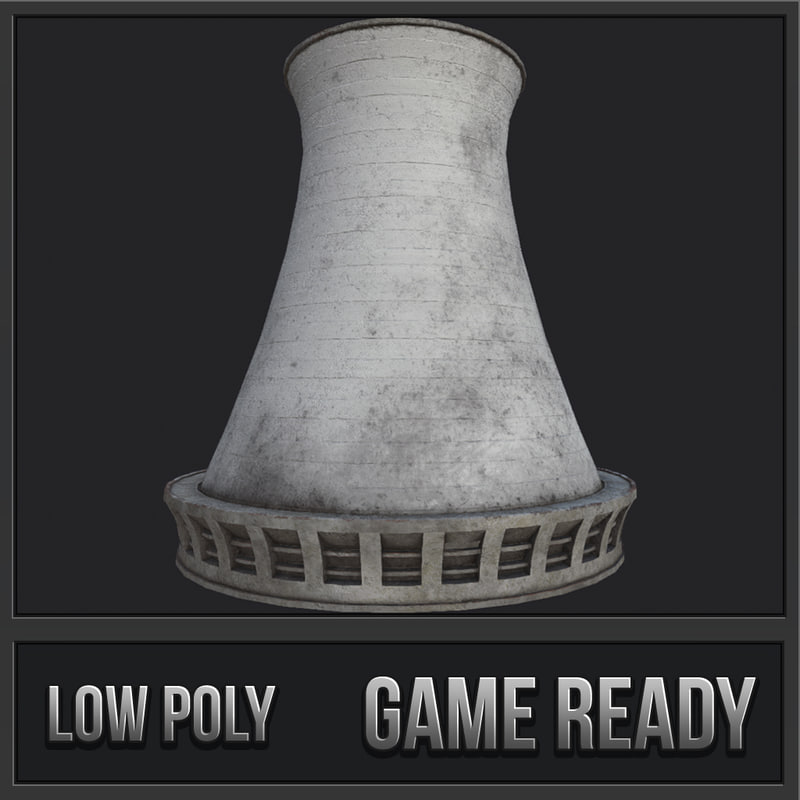 3D nuclear power plant chimney model