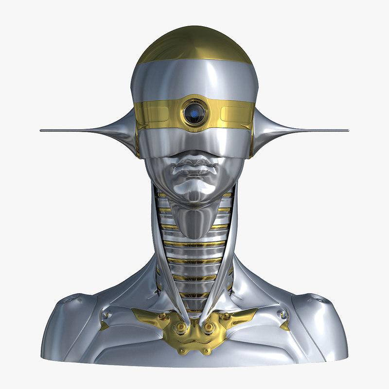3D model female robot head