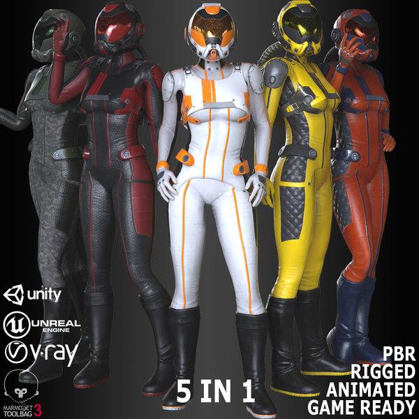 3D fx01 female sci-fi suit