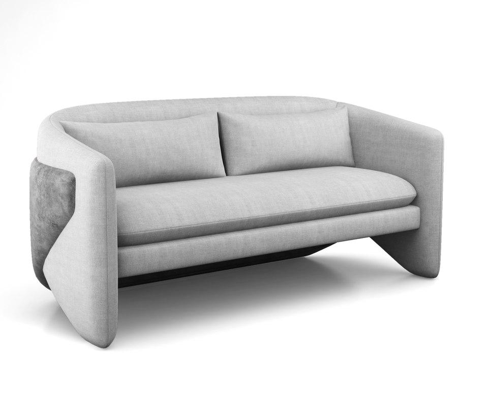 3D thea settee west elm model