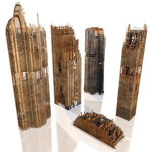 skyscrapers ruins model