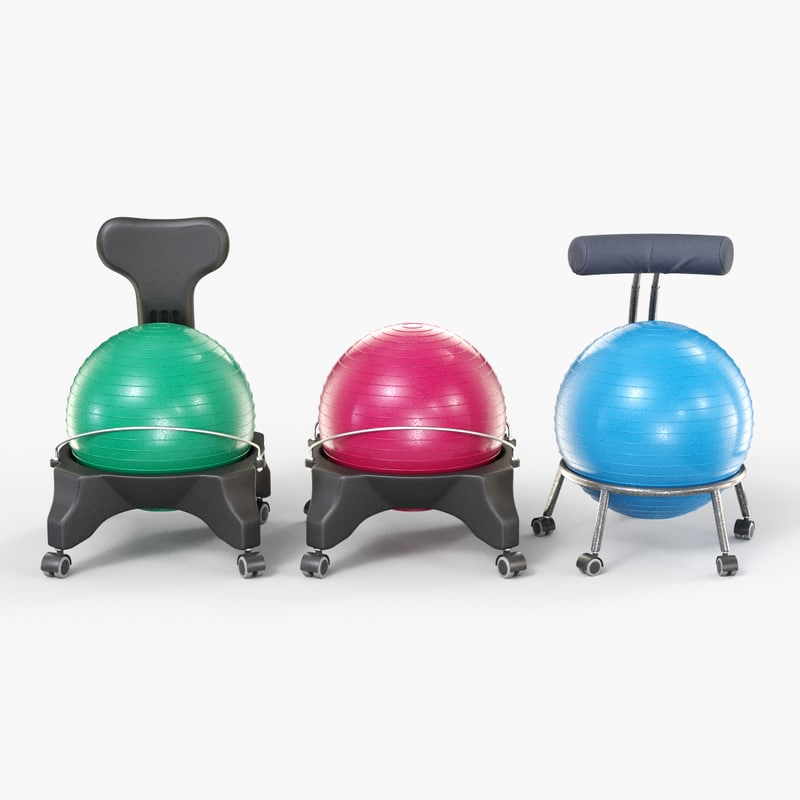 3D balance ball office chairs model