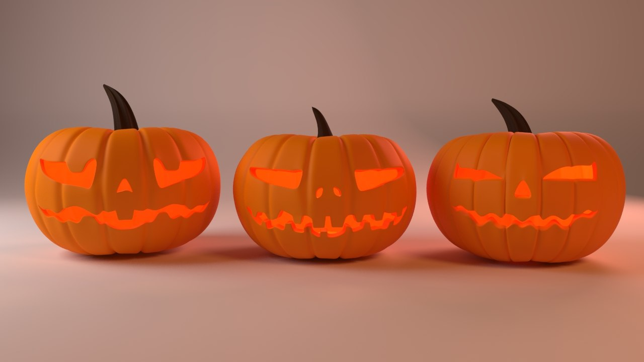 3D model halloween pumpkins scary