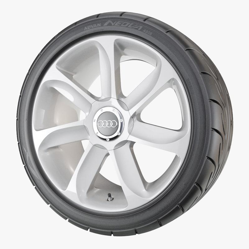 performance car wheel yokohama 3D model