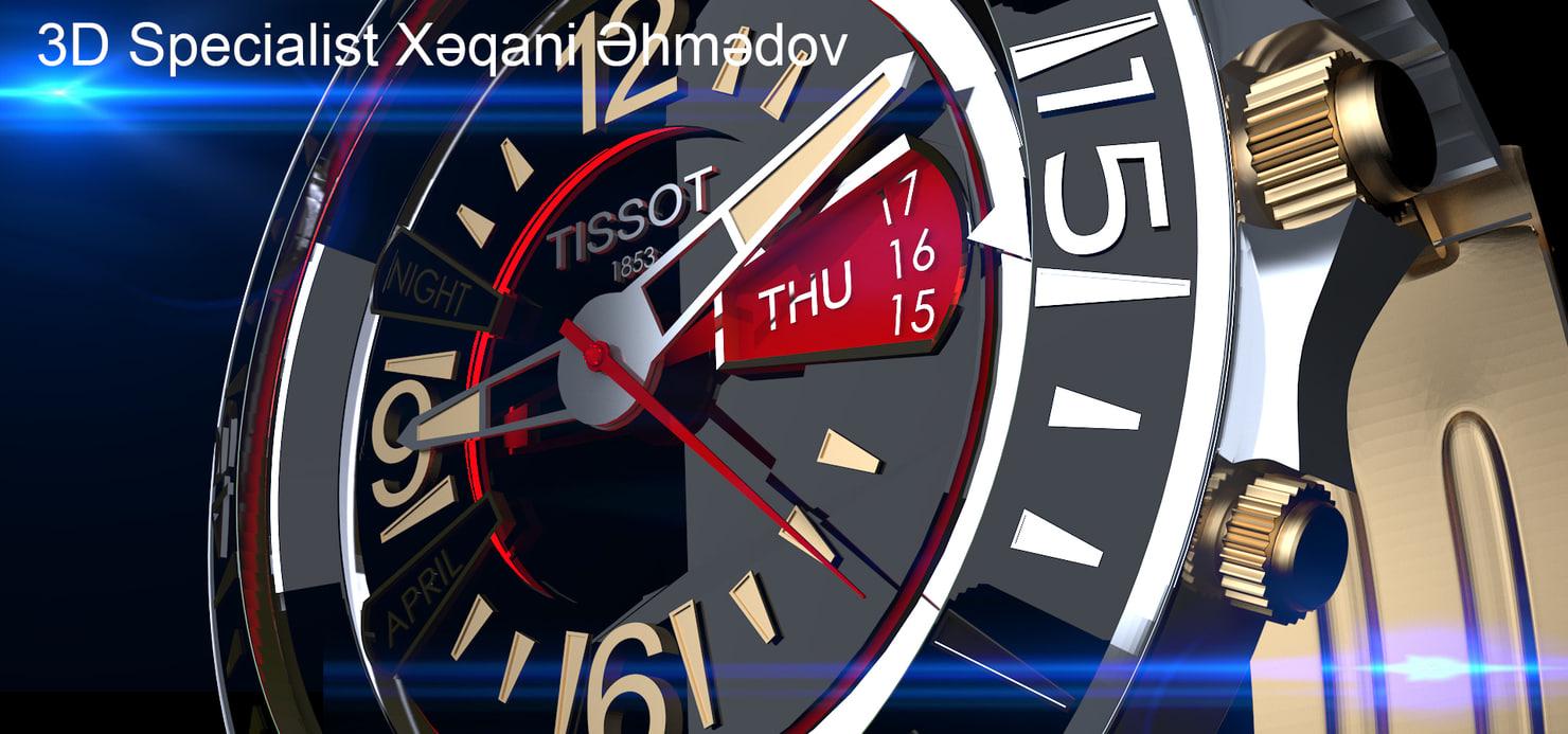 3D watch clock tissot vmf