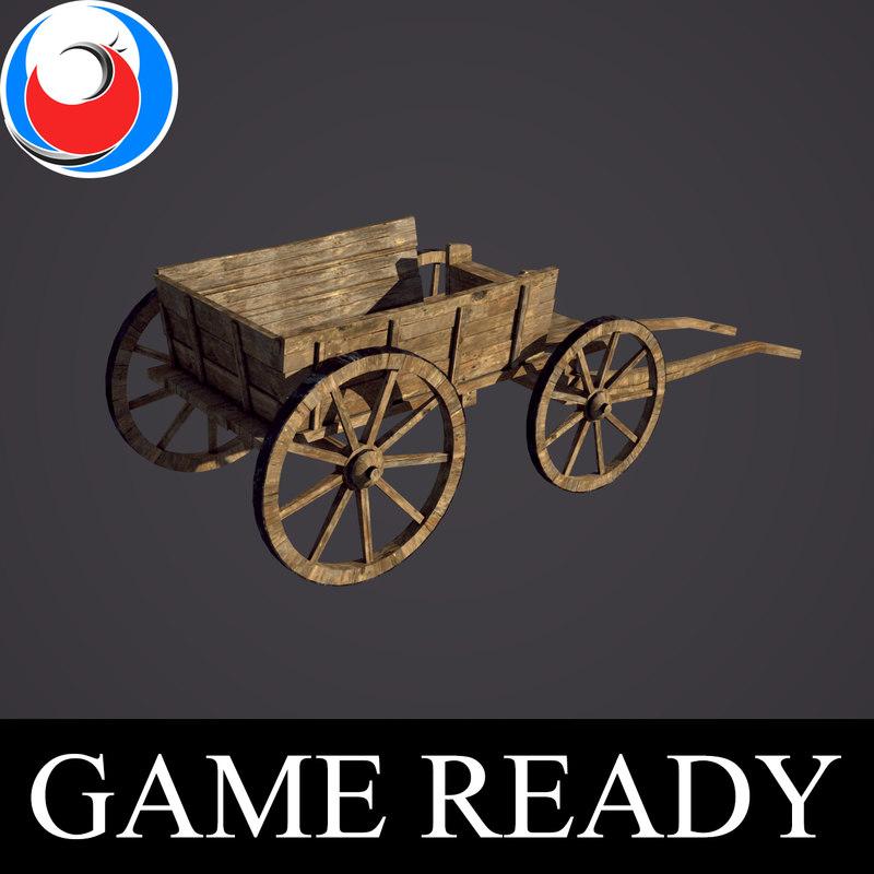 medieval wood wagon 3D model