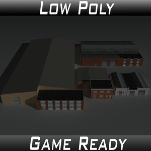 factory building set 6 3D model