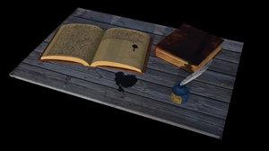 old study books inkpot 3D model