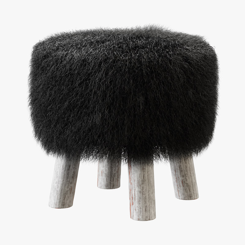 3D sheepskin stool model