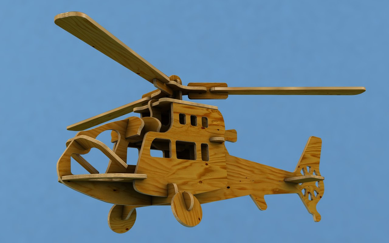 3D wooden helicopter