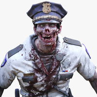 Zombie Police Officer Man Rigged PBR