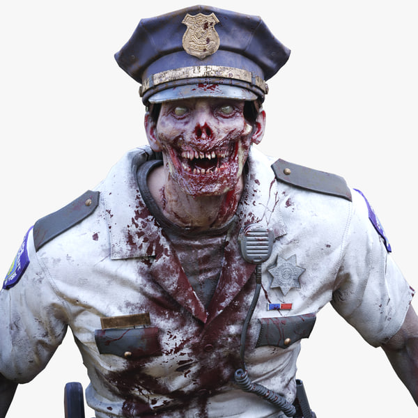 3D zombie police officer man character model