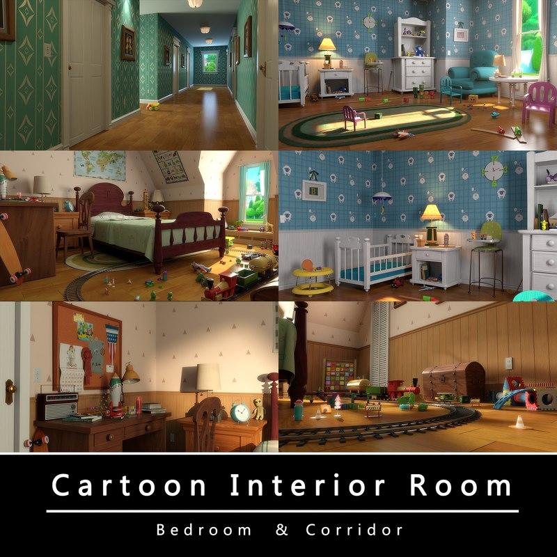 cartoon bedroom corridor model