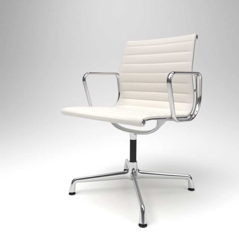 interior vitra aluminium chairs 3D model
