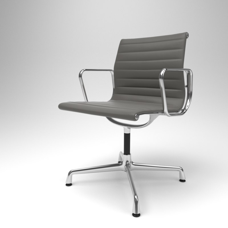 3D interior vitra aluminium chairs