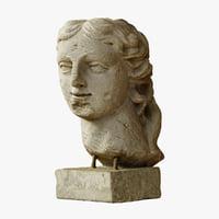 3D model woman s head sculpture