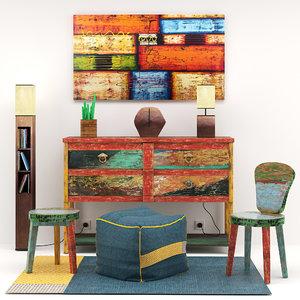 3D set colorful furniture project