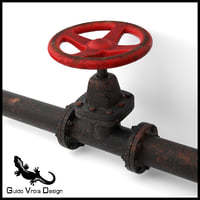 aged industrial pipe valve 3D model