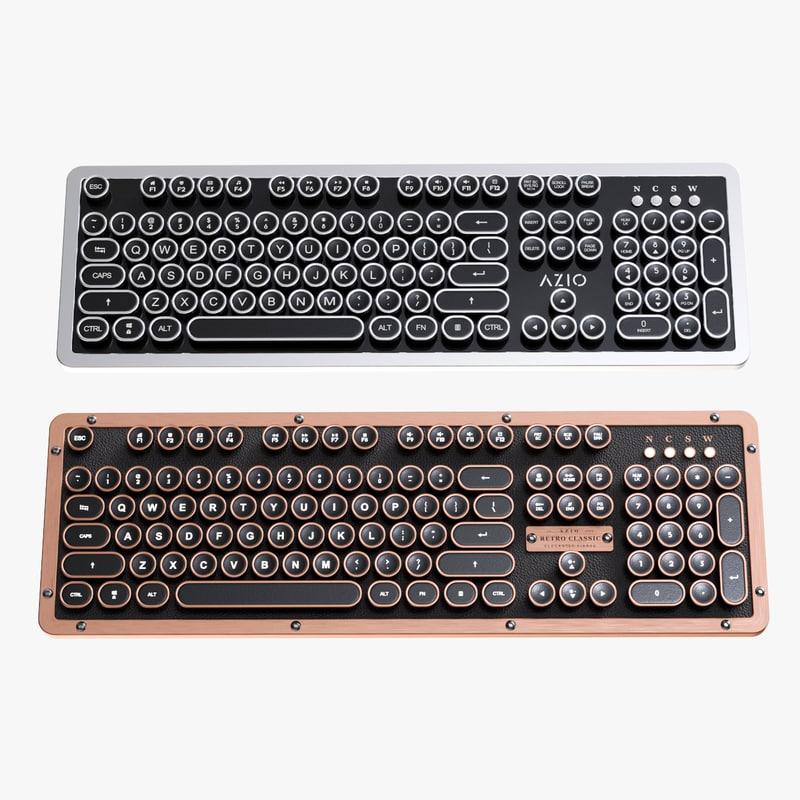 3D vintage computer keyboards azio