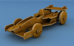 3D wooden race car