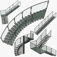 commercial staircases 3D model