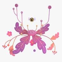 3D magic cartoon flower