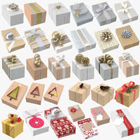 christmas wrapped gift 01 3D model