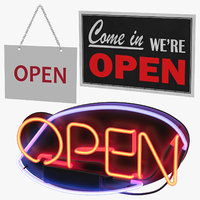 3D open-closed signs open model