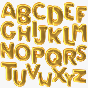 3D foil balloon letters gold