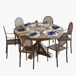 dinning set flamant 3D model
