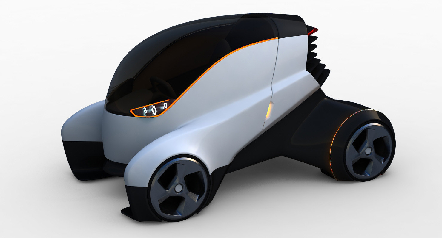 futuristic electric car 3D
