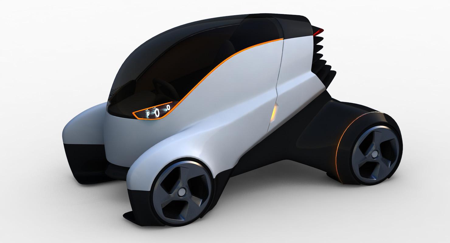 futuristic electric car 3D